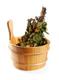 Sauna accessories - bucket with birch broom isolated on white Stock Photography