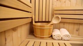 Sauna accessories stock footage