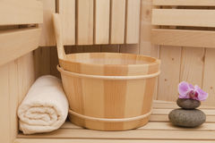 Sauna accessories. Finnish sauna with spa accessories Stock Image