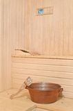 Sauna accessories in the interior Stock Photo