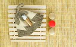 Sauna accessories on mat background stock photography