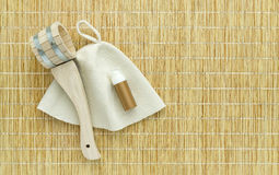 Sauna accessories on mat background royalty free stock photography