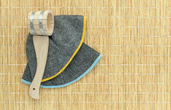 Sauna accessories on mat background royalty free stock image