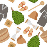 Sauna accessories seamless pattern Royalty Free Stock Photo