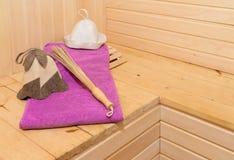 Sauna accessories in steam room Stock Photos