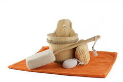 Sauna accessories. On white ground Stock Images