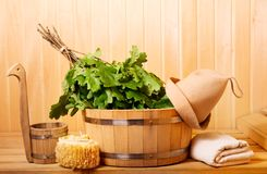 Sauna accessories in a wooden sauna Stock Photography