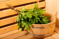 Sauna accessories in a wooden sauna stock images