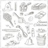 Sauna akcesoriów doodle set nakreślenie Obraz Stock
