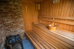 Sauna for aroma therapy Stock Photos