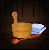 Sauna attributes Stock Photos