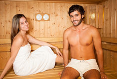Sauna bath in a steam room Royalty Free Stock Image