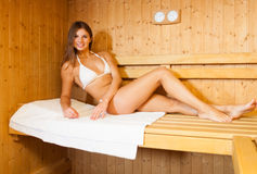 Sauna bath in a steam room Stock Photos