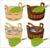 Sauna baths house birch twigs tub Stock Images