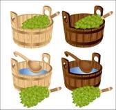 Sauna baths house birch twigs tub. There are some sauna baths house birch twigs tub Stock Images