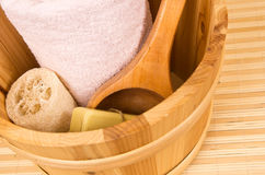 Sauna buccket and accessories Stock Photo