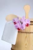 Sauna bucket. Wooden sauna bucket with spoon Royalty Free Stock Image