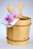 Sauna bucket. Wooden sauna bucket with spoon Royalty Free Stock Photo