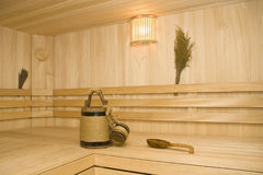 Sauna. Bucket, cup and ladle Royalty Free Stock Photo