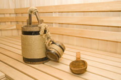 Sauna. Bucket, cup and ladle Royalty Free Stock Photos