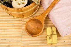 Sauna bucket, spoon and towel Royalty Free Stock Photo