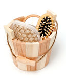 Sauna bucket with tools Royalty Free Stock Photos