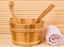 Sauna bucket and towel Stock Images