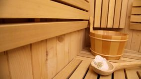 Sauna, close up of accessories stock video footage