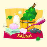 Sauna concept design, vector illustration Stock Photography