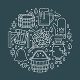 Sauna, Dampfbadezimmer-Fahnenillustration mit flacher Linie Ikonen Badezimmerausrüstungsbirke, Eichenbesen, Eimer, Bier Lizenzfreie Abbildung