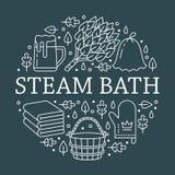 Sauna, Dampfbadezimmer-Fahnenillustration mit flacher Linie Ikonen Badezimmerausrüstungsbirke, Eichenbesen, Eimer, Bier Stock Abbildung
