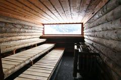 Sauna de madera Fotos de archivo libres de regalías