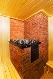 Sauna de madera clásica dentro Foto de archivo libre de regalías
