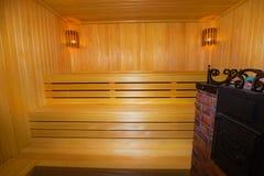 Sauna de madera clásica dentro Imagen de archivo libre de regalías