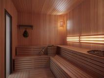 Sauna de madera con los accesorios tradicionales de la sauna Foto de archivo