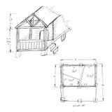 Sauna draft. House draft sketch. Black outline on white background. Vector illustration Stock Images