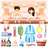 Sauna en bathhouse toebehoren Vector vlakke geplaatste pictogrammen Man en vrouwenpaar het ontspannen bij het kuuroord stock illustratie