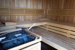Sauna en bois chaud Photographie stock