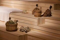 Sauna en bois de bien-être de Brown Images stock