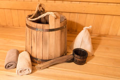 Sauna equipment Stock Photography