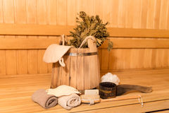 Sauna equipment Stock Photos