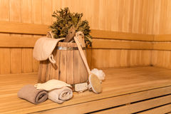 Sauna equipment Royalty Free Stock Images