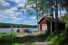 Sauna finlandese e vasca calda Fotografia Stock Libera da Diritti