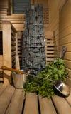 Sauna finlandese, stufa ed accessori Fotografia Stock Libera da Diritti