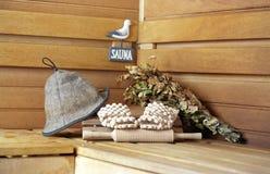 Sauna. Ganz betriebsbereit? Stockbilder