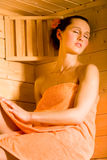 Sauna girl Royalty Free Stock Photography