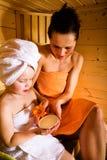 Sauna girls Stock Photos