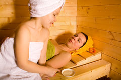 Sauna girls Royalty Free Stock Photography