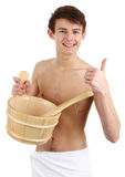 Sauna guy with white towel Royalty Free Stock Photography