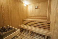 Sauna in a health spa. Interior detail of a sauna in luxury health spa beauty center Stock Photos
